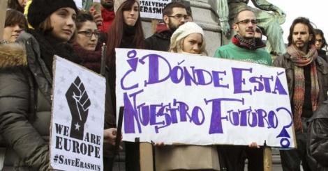 Erasmus_protesta_Bruselas_Enseñanza_Pública